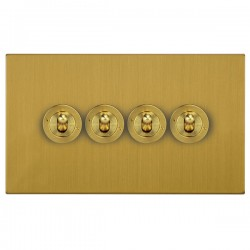 Focus SB Horizon Square Corners NHSB14.4 4 gang 20 amp 2 way toggle switch in Satin Brass