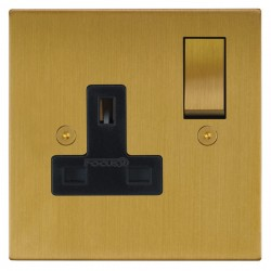 Focus SB Horizon Square Corners NHSB18.1B 1 gang 13 amp switched socket in Satin Brass with black inserts