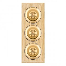 Hamilton Bloomsbury Ovolo Light Oak Plain Polished Brass 3 Gang 2 Way Toggle with Black Insert