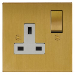 Focus SB Horizon Square Corners NHSB18.1W 1 gang 13 amp switched socket in Satin Brass with white inserts