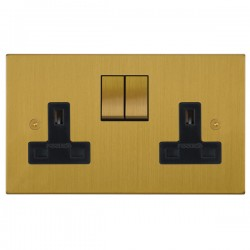 Focus SB Horizon Square Corners NHSB18.2B 2 gang 13 amp switched socket in Satin Brass with black inserts