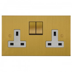 Focus SB Horizon Square Corners NHSB18.2W 2 gang 13 amp switched socket in Satin Brass with white inserts