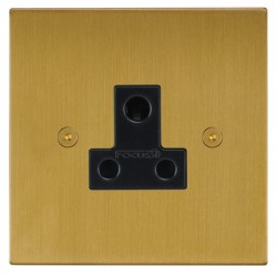 Focus SB Horizon Square Corners NHSB20.1B 1 gang 5 amp unswitched socket in Satin Brass with black inserts