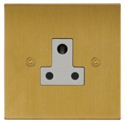 Focus SB Horizon Square Corners NHSB20.1W 1 gang 5 amp unswitched socket in Satin Brass with white inserts