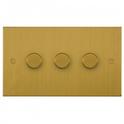 Focus SB Horizon Square Corners NHSB21.3 3 gang 2 way 250W (mains and low voltage) dimmer in Satin Brass