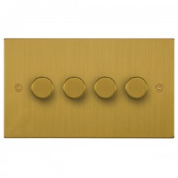 Focus SB Horizon Square Corners NHSB21.4 4 gang 2 way 250W (mains and low voltage) dimmer in Satin Brass