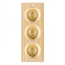 Hamilton Bloomsbury Ovolo Light Oak Plain Polished Brass 3 Gang 2 Way Toggle with White Insert