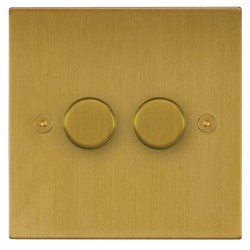 Focus SB Horizon Square Corners NHSB22.2 2 gang 2 way 400W (mains and low voltage) dimmer in Satin Brass