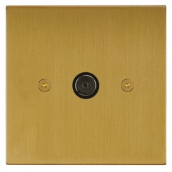 Focus SB Horizon Square Corners NHSB23.1 1 gang isolated co-axial TV socket in Satin Brass