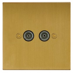 Focus SB Horizon Square Corners NHSB23.2 2 gang isolated co-axial TV socket in Satin Brass