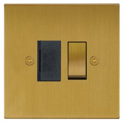 Focus SB Horizon Square Corners NHSB26.1B 13 amp switched fuse spur in Satin Brass with black inserts