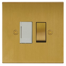 Focus SB Horizon Square Corners NHSB26.1W 13 amp switched fuse spur in Satin Brass with white inserts