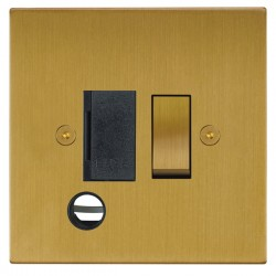 Focus SB Horizon Square Corners NHSB28.1B 13 amp switched fuse spur with cord outlet in Satin Brass with black inserts