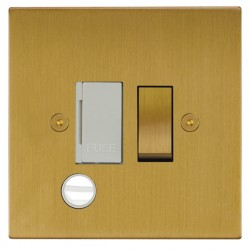 Focus SB Horizon Square Corners NHSB28.1W 13 amp switched fuse spur with cord outlet in Satin Brass with white inserts