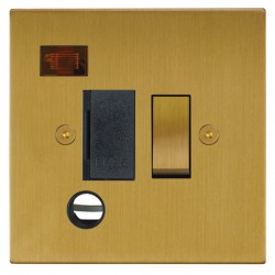 Focus SB Horizon Square Corners NHSB29.1B 13 amp switched fuse spur with cord outlet and neon in Satin Brass with black inserts