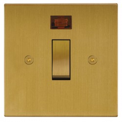 Focus SB Horizon Square Corners NHSB30.1 20 amp double pole rocker switch in Satin Brass