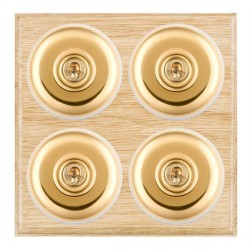 Hamilton Bloomsbury Ovolo Light Oak Plain Polished Brass 4 Gang 2 Way Toggle with White Insert