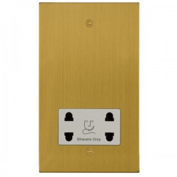 Focus SB Horizon Square Corners NHSB36.1W shaver socket (110/240V) in Satin Brass with white inserts