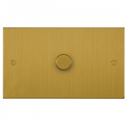 Focus SB Horizon Square Corners NHSB43.1 1 gang 700w low voltage, 1000w mains voltage dimmer in Satin Brass