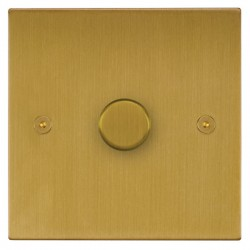 Focus SB Horizon Square Corners NHSB43.1/SML 1 gang 700W low voltage, 1000W mains voltage dimmer in Satin Brass