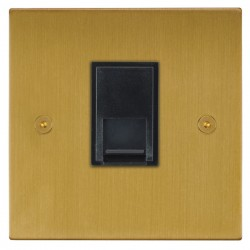 Focus SB Horizon Square Corners NHSB51.1B 1 gang CAT5 RJ45 socket in Satin Brass with black inserts