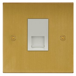 Focus SB Horizon Square Corners NHSB51.1W 1 gang CAT5 RJ45 socket in Satin Brass with white inserts