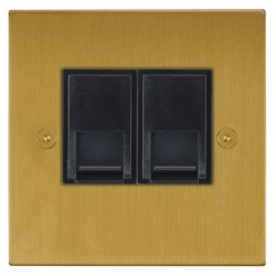 Focus SB Horizon Square Corners NHSB51.2B 2 gang CAT5 RJ45 socket in Satin Brass with black inserts