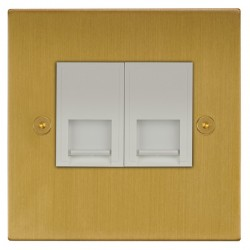 Focus SB Horizon Square Corners NHSB51.2W 2 gang CAT5 RJ45 socket in Satin Brass with white inserts