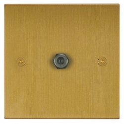 Focus SB Horizon Square Corners NHSB54.1 1 gang satellite socket in Satin Brass