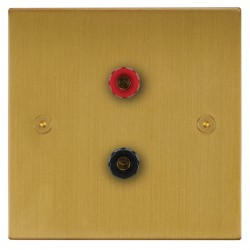 Focus SB Horizon Square Corners NHSB67.1 1 gang speaker outlet (1 red 1 black 4mm socket) in Satin Brass