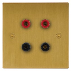Focus SB Horizon Square Corners NHSB67.2 2 gang speaker outlet (2 red 2 black 4mm socket) in Satin Brass