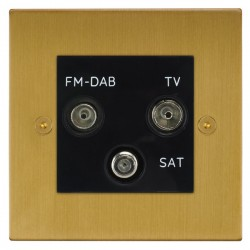 Focus SB Horizon Square Corners NHSB80.3B triplex TV/FM/Satellite outlet in Satin Brass with black inserts