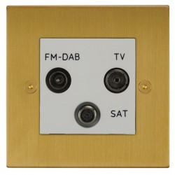 Focus SB Horizon Square Corners NHSB80.3W triplex TV/FM/Satellite outlet in Satin Brass with white inserts