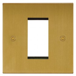 Focus SB Horizon Square Corners NHSBEUR.1 single aperture plate for a single euro module in Satin Brass