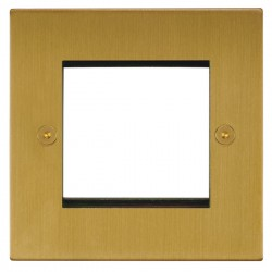 Focus SB Horizon Square Corners NHSBEUR.2 single aperture plate for two single euro modules in Satin Brass