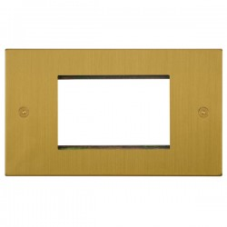 Focus SB Horizon Square Corners NHSBEUR.3 double aperture plate for three single euro modules in Satin Brass