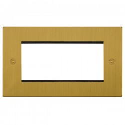 Focus SB Horizon Square Corners NHSBEUR.4 double aperture plate for four single euro modules in Satin Brass