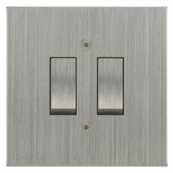 Focus SB Horizon Square Corners NHSC11.2 trimless 2 gang 20 amp 2 way rocker switch in Satin Chrome
