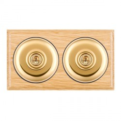 Hamilton Bloomsbury Ovolo Light Oak Plain Polished Brass 2 Gang Intermediate Toggle with Black Insert