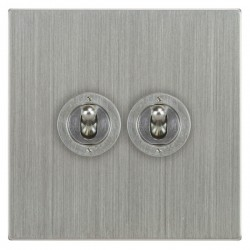 Focus SB Horizon Square Corners NHSC14.2 2 gang 20 amp 2 way toggle switch in Satin Chrome