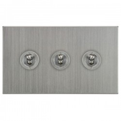 Focus SB Horizon Square Corners NHSC14.3 3 gang 20 amp 2 way toggle switch in Satin Chrome