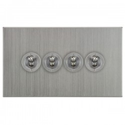 Focus SB Horizon Square Corners NHSC14.4 4 gang 20 amp 2 way toggle switch in Satin Chrome
