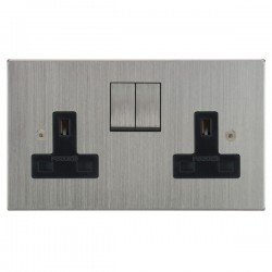Focus SB Horizon Square Corners NHSC18.2B 2 gang 13 amp switched socket in Satin Chrome with black inserts