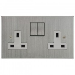 Focus SB Horizon Square Corners NHSC18.2W 2 gang 13 amp switched socket in Satin Chrome with white inserts