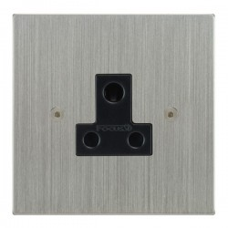 Focus SB Horizon Square Corners NHSC20.1B 1 gang 5 amp unswitched socket in Satin Chrome with black inserts