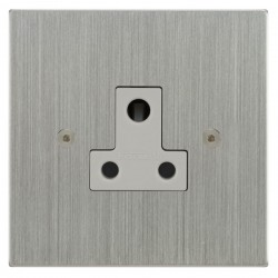 Focus SB Horizon Square Corners NHSC20.1W 1 gang 5 amp unswitched socket in Satin Chrome with white inserts