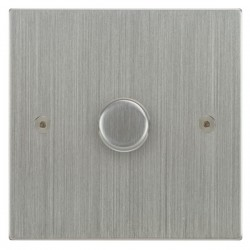 Focus SB Horizon Square Corners NHSC21.1 1 gang 2 way 250W (mains and low voltage) dimmer in Satin Chrome