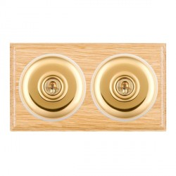 Hamilton Bloomsbury Ovolo Light Oak Plain Polished Brass 2 Gang Intermediate Toggle with White Insert