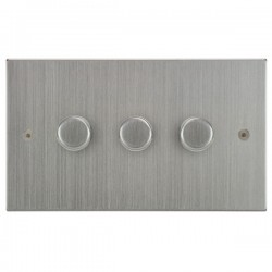 Focus SB Horizon Square Corners NHSC21.3 3 gang 2 way 250W (mains and low voltage) dimmer in Satin Chrome