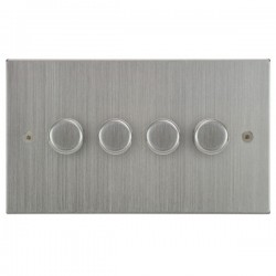 Focus SB Horizon Square Corners NHSC21.4 4 gang 2 way 250W (mains and low voltage) dimmer in Satin Chrome